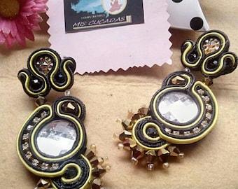 Earrings Black/Yellow soutache