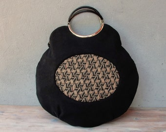 Japanese Mesh Work Tote, Geometric Woven Bag, Black Purse made with Vintage Materials.