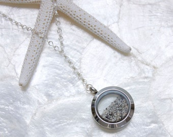 Sterling Silver Sands of Time Fillable Shake Necklace Floating Memory Locket - Beach Wedding/Vacation Keepsake  Choose Pendant Size