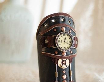 Leather steampunk wrist watch