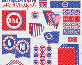 4th of July Party Printable Pack (INSTANT DOWNLOAD) by Lindi Haws of Love The Day
