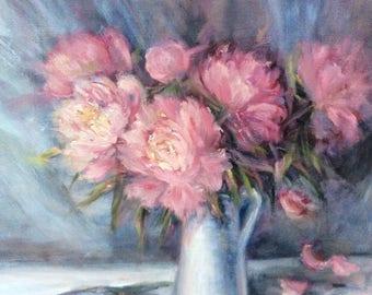 "Pink Peonies Painting Original Oil  Floral Painting 16 x 20"""