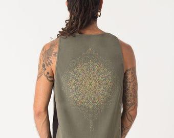 Mens Tank Top Sacred Geometry Mandala Screen Print, Psychedelic Clothing, Burning Man Men, Yoga Tank Top, Dmt, SOL