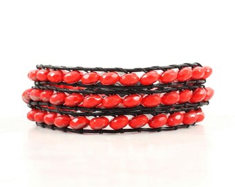 Heart Wrap Bracelet Beaded Bracelet Black Leather Bracelet Bohemian Jewelry Red Heart Bracelet Leather Jewelry Boho Jewelry Black Leather