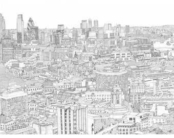 London in ink - large LIMITED EDITION PRINT - 117 x 79cm