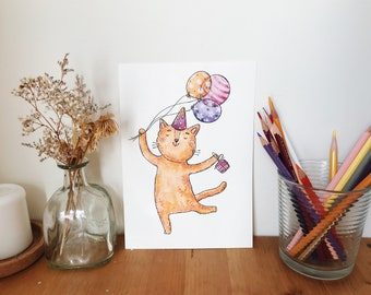 Meow Congratulations original watercolor illustration