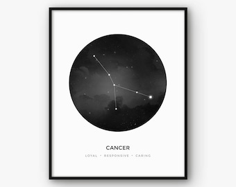 Cancer Constellation Print, Zodiac Sign Wall Art, Astrology Poster, Scandinavian Nordic Art, Digital Printable Black and White Home Decor