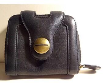 Gerard Darel Vintage Wallet. Gérard Darel wallet. Wallet/door wallet black leather, Made in France; Gift for her.