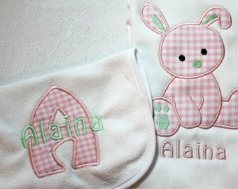 Monogrammed and Personalized Bunny Burp Cloth and Bib Set - Perfect for a new baby girl or baby shower gift!