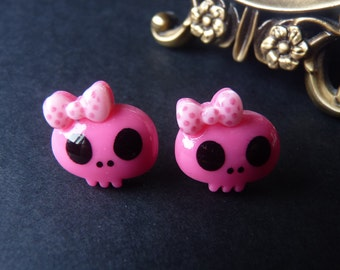 Cute Kawaii Hot Pink Skull Pink Bow Earrings - With Back Stoppers