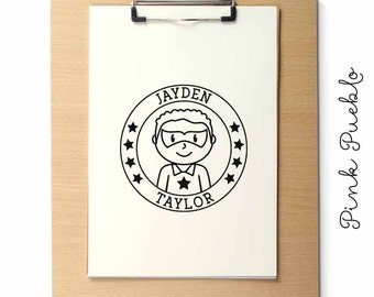 Large Personalized Superhero Boy Rubber Stamp - Choose Name, Hairstyle and Accessories