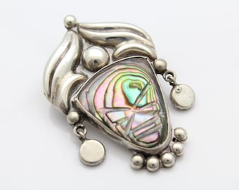 Whimsical Carved Abalone Mask Brooch Pendant With Dangles in Taxco Silver. [7499]
