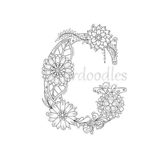 Items Similar To Adult Coloring Page Floral Letters
