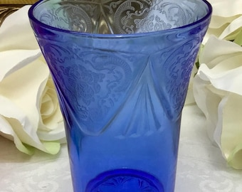 Royal Lace cobalt blue 9 oz glass.