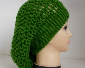 Green Knit Hat, Winter Hat, Slouchy Beanie, Knit Beanie, Womens Hats, Chunky Knit Hat, Girl Gifts,Teen Gift Gift Ideas For Her Women Fashion