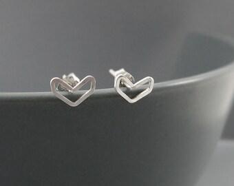 Chevron Earrings - Sterling Silver Arrow Stud earrings, Dainty V Shaped Wire Post