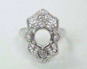 Antique White Gold Engagement Ring Setting | Will Hold 6-6.5MM