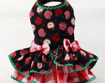 Dog Dress, Dog Harness Dress, Dog fashion for Small Dog, Fall Dress for Dogs, Ruffle Dress, for Dog, Blue Dog Dress, Handmade Dress, Apples