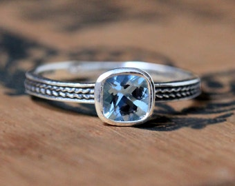 Aquamarine ring sterling silver, bezel set ring aquamarine, cushion cut engagement ring, sterling silver ring, braided ring, oxidized custom