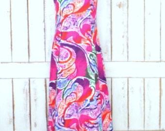 Vintage Two Potato pink psychedelic Hawaiian maxi dress/long sleeveless Hawaiian dress