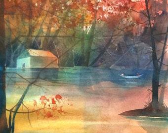 Love on the Canoe Watercolor Painting, Autumn Art, Fall Decor, Landscape Print, Landscape Painting, Home Decor Art, Autumn Painting,Fall Art
