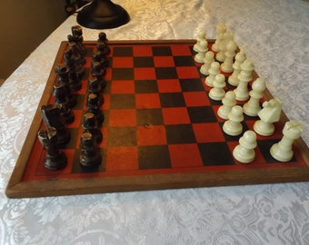 Complete sets of alabaster( marble) chess . Board game. Gift idea.  The chess figures are white and brown.