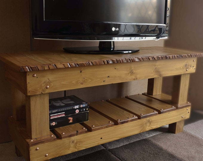 Bespoke Rustic Reclaimed Wood Country Cottage TV Stand in Light Oak Stain with Decorative Copper Tacks Media Storage Shelf Handmade to Order