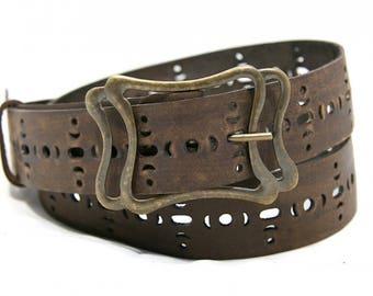 Womens belt Brown leather belt for women Gift ideas for her Boho belt Rustic leather belt for jeans Womens leather belt  Plus size hip belt