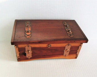 Mid Century Rustic Wood & Copper Box, Secret Stash Trinket Box, Stash Container with Hinged Lid, Vintage Wooden Jewelry Box
