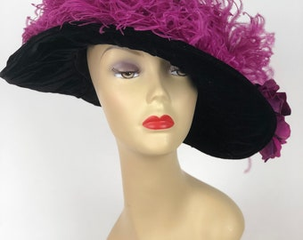 Edwardian Black velvet hat with purple flowers and feathers