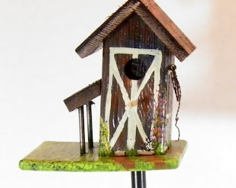 Rustic Leaning Cedar Barn Birdhouse Plant Poke , Handcrafted , Hand Painted