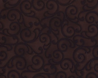 Michael Miller Ethereal Scroll Chocolate Fabric  - by the yard
