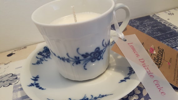 Tea cup candle. Scented with lemon drizzle cake soy wax vegan vintage tea cup candle. Vegan candles. Organic soy. Made in Wales
