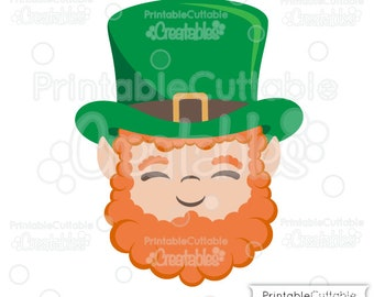 Cute Leprechaun Face SVG Cut File Clipart E357 - svg, dxf, png, for Cricut, Cameo Cutting Machines - Includes Limited Commercial Use!