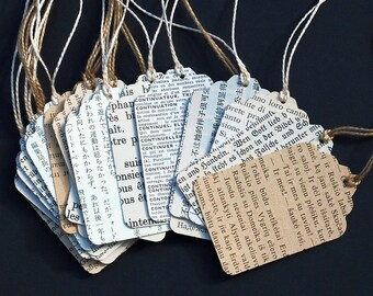 Foreign Language Gift Tags- 12 recycled vintage paper gift tags, wedding favor tags, travel party favor tags