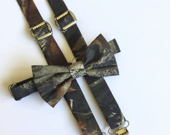 Mossy Oak suspenders and bow tie set, camo bow tie, camo suspenders, camouflage suspenders, men suspender and bow tie set