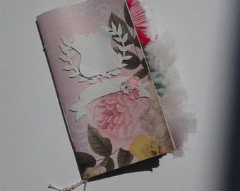 Traveler's notebook insert/handmade/journal/junk journal/floral/flowers/shabby chic/bow/trim/pink/pastel/black/beads