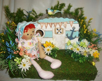 Happy Camper Centerpiece, Floral Centerpiece, Year Round Floral Centerpiece, Camping Centerpiece