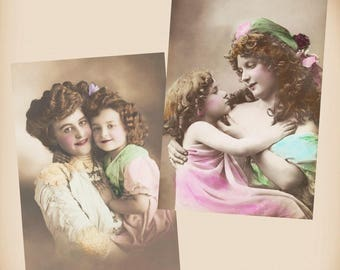 Mother And Daughter 2 New 4x6 Vintage Postcard Image Photo Prints CE171 CE112