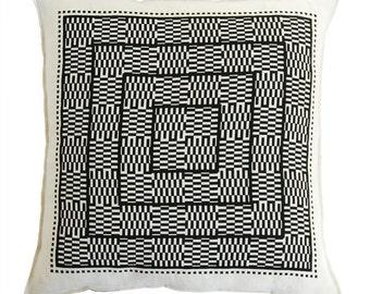 optical squares linen pillow cover black