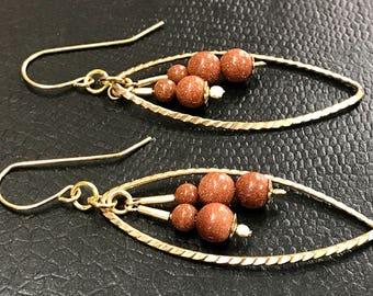 Goldfield earrings with goldstone