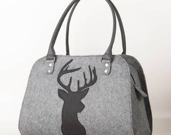 Shoulder bag Deer bag Felt bag Deer handbag Deer purse Women handbag Top handles bag Grey handbag Felt purse Felt shoulder purse