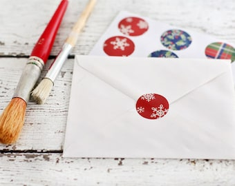 ON SALE!!! Holiday Sticker Seals -  Christmas stickers, round sticker, envelope seals, packaging, christmas packaging, holiday paper goods