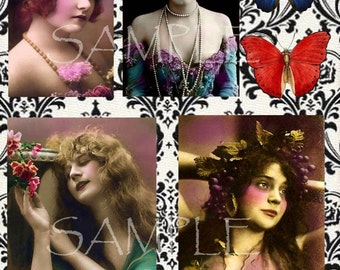 pReTtY pOiSoN instant Digital Download COLLAGE SHEET Beautiful Victorian Woman Altered Art Supplies Mixed Media Art Aceo ATC Photographs