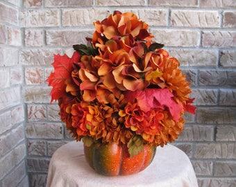 Pumpkin Floral Arrangement, Fall Floral Arrangement, Floral Arrangement, Fall Floral Arrangement, Orange Floral Arrangement, Green Floral