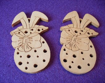 2 rabbits in Easter bag of wood / 4x7cm (07-0006A)