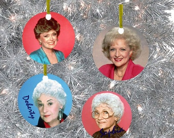 Golden Girls Printed Ceramic Christmas Ornaments Set of 4 ~Personalized Kitsch