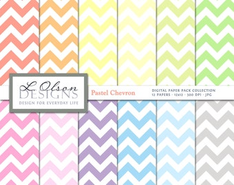 Pastell Chevron Paper Pack - 12 digitale Papier Muster - INSTANT DOWNLOAD