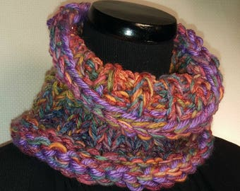 Beautiful Colorful Hand Knit Neck Warmer