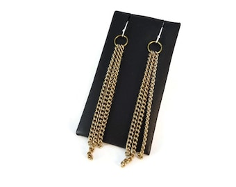 Tapered Brass Chain Earrings Long Dangle, Flashy Gold Chain Drop Earrings Sterling Silver Ear Wires, Classic Jewelry Design For Women